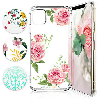 For Apple iPhone XS Max / XR Flowers Clear TPU Phone Case Cover+Tempered Glass