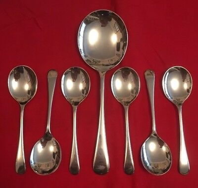 Set Of Vintage Silver Plated Old English Pattern Dessert Spoons c.1950's