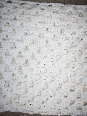 New Hand Crochet Blanket In White Cotton Blend Wool 23X23In/58X58Cms