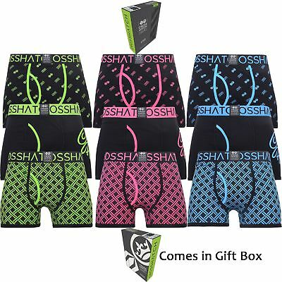Mens 3 Pack Boxer Shorts Crosshatch Neon Gift Box Trunks Underwear Xmas Gift Set