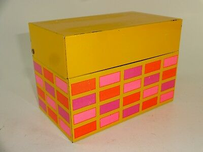 Vintage 50s 60s Kitchen Yellow Tin Recipe Box Pastel Pink Purple Orange Squares