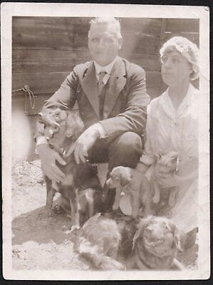 Vintage Photograph 1920's Woman Man Dogs Puppies Cat Freeport New York Old Photo