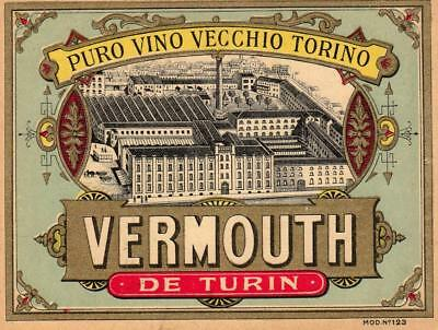 Superb Vintage Label For Vermouth De Turin - Factory Illustration