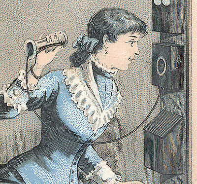 1880's WILLIMANTIC THREAD TRADE CARD, LADY USING A LG ANTIQUE WALL PHONE  K214