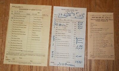 3 Antique Quack Medicine Bills Kemp & Lane Le Roy NY Kemp's Balsam Lane's Tea