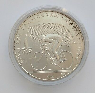 USSR 1980 Moscow Olympics Cycling Commemorative Coin 1.456 troy oz. Silver