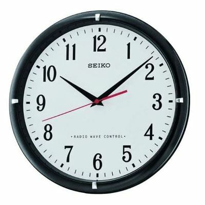 Seiko QXR302Z Black Radio Controlled Analogue Wall Clock with White Face New