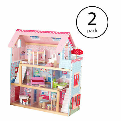 KidKraft Chelsea Wooden Dollhouse Play House Cottage with Furniture (2 Pack)
