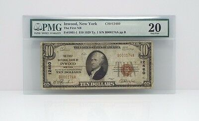 #12460 Series 1929 $10 First National Bank of Inwood PMG 20 Very Fine Fr#1801-1