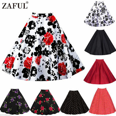 23adf246cd Vintage 50s Retro Swing Floral Skirt Ladies High Waist A-Line Midi Skater  Skirts