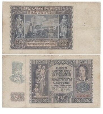 2o Zlots Polish banknote issued in 01.03.1940 G ff