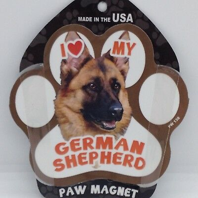 I Love MY GERMAN SHEPHERD MAGNET Dog Paw Print Refrigerator Car Metal 6x4