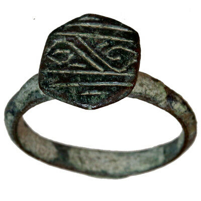Museum Quality Ancient Greek Archaic Period Bronze Decorated Ring Circa 750 Bc