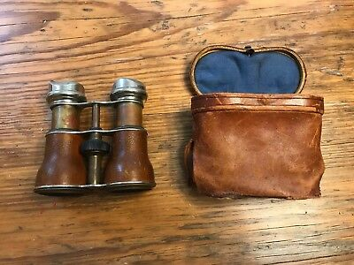 Antique Chevalier Paris WW1? Military Binoculars Leather Day Night Field Glasses