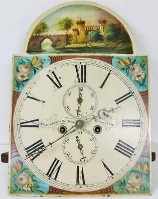 Antique C1830 8 Day Scottish Grandfather Longcase Clock Movement & Painted Dial