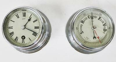 Antique English Sestral 8Day Silvered Timepiece Ships Bulkhead Clock & Barometer