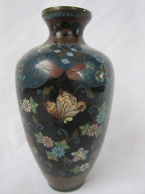 Antique small cloisonne vase butterflies & flowers. Chinese / Japanese?