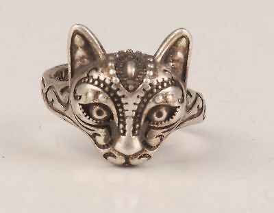 Tibetan Silver Hand-Carved Cat Statue Old Collection Ring Gift