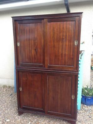Vintage 1930s Solid Mahogany Barristers Cabinet Bookcase Sliding Doors Shop Chic