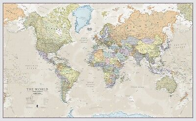 Giant Wall Map World Classic Large Poster Front Laminated School Home Office