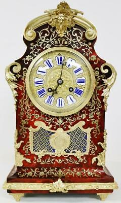 Very Rare Antique French 8 Day Red Shell & Brass Inlaid Boulle Bracket Clock