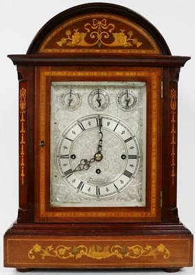 Antique English Marquetry Triple Fusee Musical 8 Bell & 5 Gong Bracket Clock