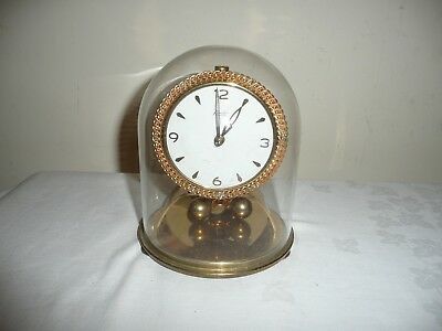 Vintage Kundo Anniversary Clock in Glass Dome, Miniature Movement. V G Cond