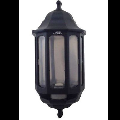 Hl/bk060p Half Lantern External Light With Pir Security Switch black By Asd