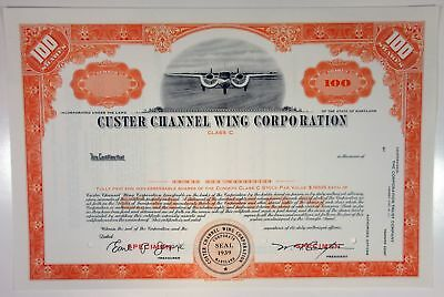 MD. Custer Channel Wing Corp., 1940s 100 Shrs Specimen Stock Certificate-Orange