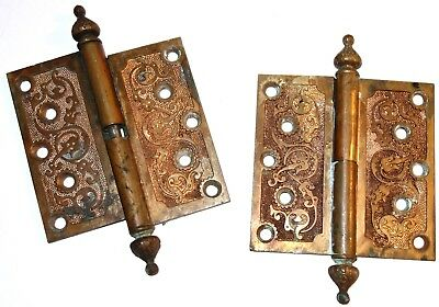 """PAIR of TWO (2) FANCY Antique 5"""" HEAVY BRONZE HINGES! NR!"""