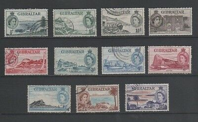 Gibraltar QE 1953 Used Part Set to 2/- Shillings
