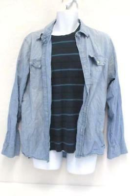 Denim Layered Look American Eagle Outfitters Striped Shirt Button Up Men's L