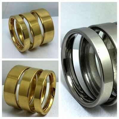60Pcs Mix 4 6 8mm Silver Gold flat Stainless steel men's women rings wholesale
