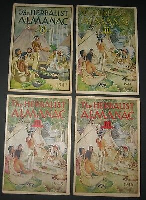 4 Vintage Issues of THE HERBALIST ALMANAC: 1943 - 1946