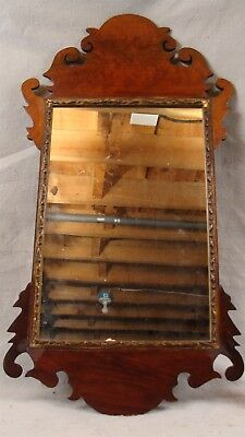 Antique 18C Figured Mahogany Chippendale Wall Mirror