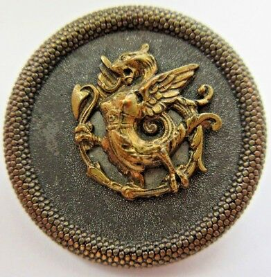 Outstanding LARGE Antique~ Vtg Metal Picture BUTTON Dragon Mythology (T8)