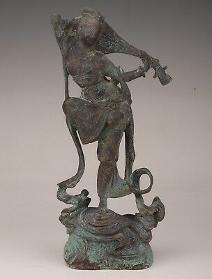 Valuable Chinese Bronze Statue Old Pipa Beauty Dance Collection