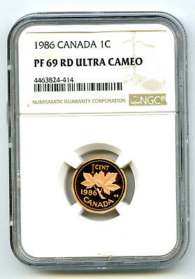 1986 Canada One Cent Ngc Pf69 Rd Ucam Proof Penny Extremely Rare Top Pop=9
