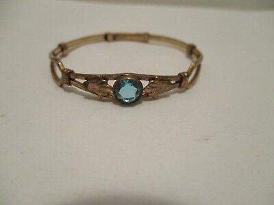 Child's Antique Bangle Blue Stone Adjustable Band Bracelet 5 1/4 in to 5 3/4 in