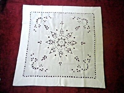 """Vintage Antique White Linen Tablecloth in Hand Embroidered Star Pattern 32"""" x 32"""