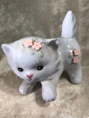 Vintage Lefton Pale Blue Kitty Cat With Flowers Figurine / Japan