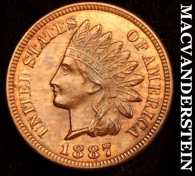 1887 Indian Head Cent - Uncirculated!!  Lustrous!!  #c1495