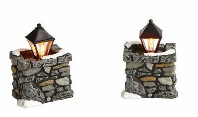 Department 56 Village Limestone Lamp Corner Posts Set Of 2 Accessory 4020257 New