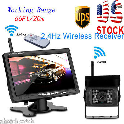 "Wireless IR Rearview Back Camera Night Vision System+7"" Monitor for RV Truck Bus"