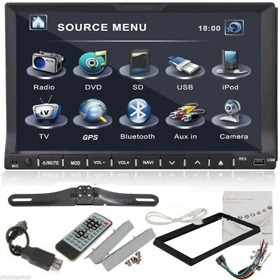 """7"""" Touch Screen BT Double 2Din In dash Car Stereo Radio GPS CD DVD Player+Camera"""
