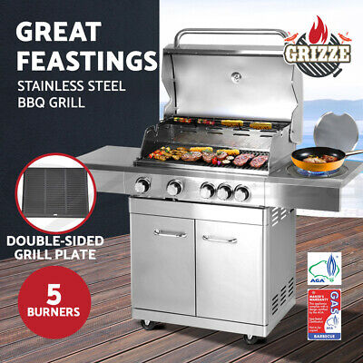 Gas BBQ 5 Burner 100% Stainless Steel Kitchen Grill Outdoor Barbeque Gas