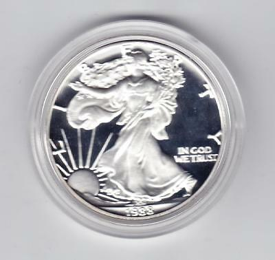 1988 S SILVER PROOFAMERICAN EAGLE DOLLAR No Reserve! WITH BOX C.O.A.