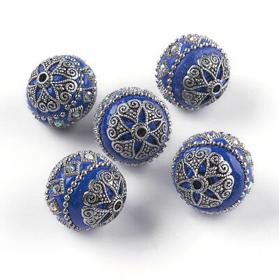 5 pcs Antique Silver Plated Metal Findings Blue Handmade Indonesia Beads 20x20mm