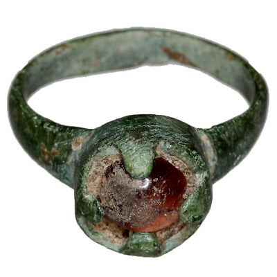 Intact Roman Bronze Ring With Nice Gem Stone Circa 300 Ad