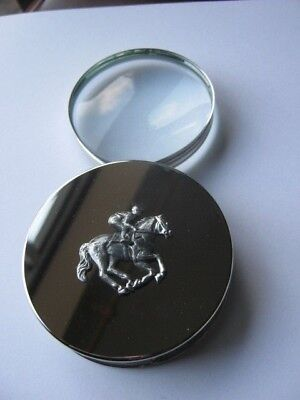 Large Magnifying Glass Horse Racing Jockey Chrome and Steel  Lovely Gift New